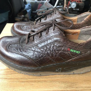 MEPHISTO Mens Dark Brown Leather Toning Sneakers